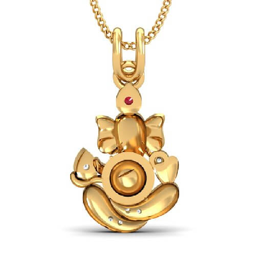 Lord Ganesha Gold And Round Pendant