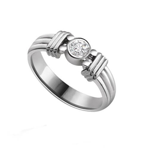 Pure Silver Ring With Solitaire Diamond