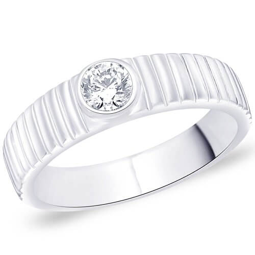 Silver Mens Ring With Solitaire Stone