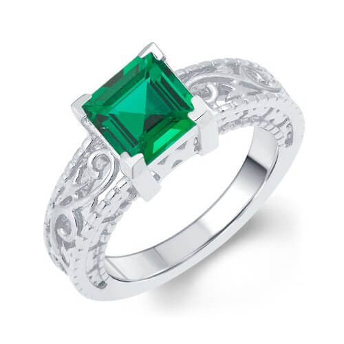 Silver Ring For men with green stones