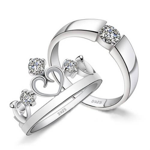 Sterling Silver Diamond Princess Couple Band For Men And Women