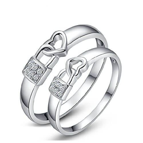 Stylish Heart Couple Band In Sterling Silver