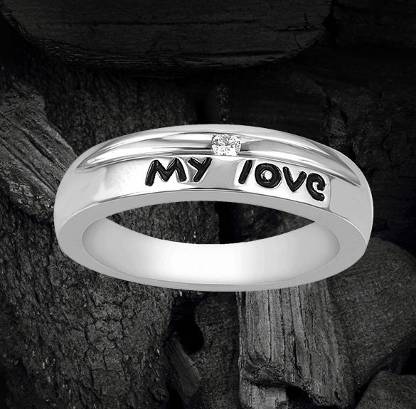 platinum rings with names engraved