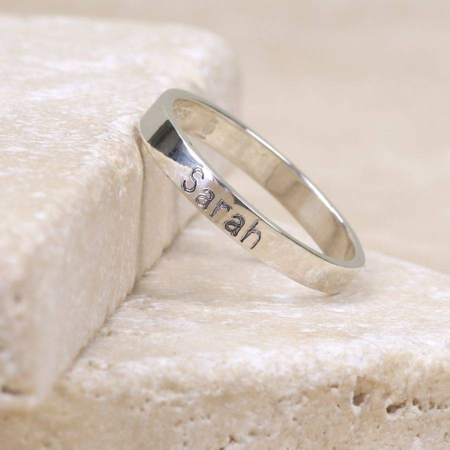 Customized Name Engraved Silver Ring