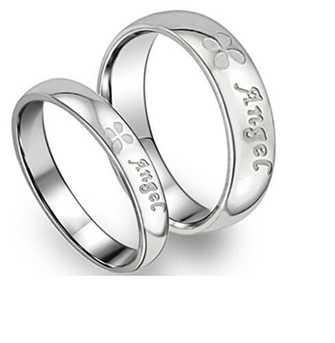 Flower Angel Silver Ring For Couple
