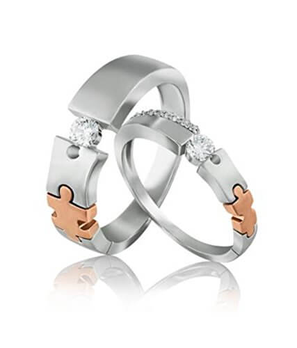 Loving Couple Puzzle Ring Made in Silver