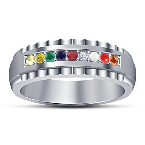 Pure Silver Ring For Women With Navaratna Stones