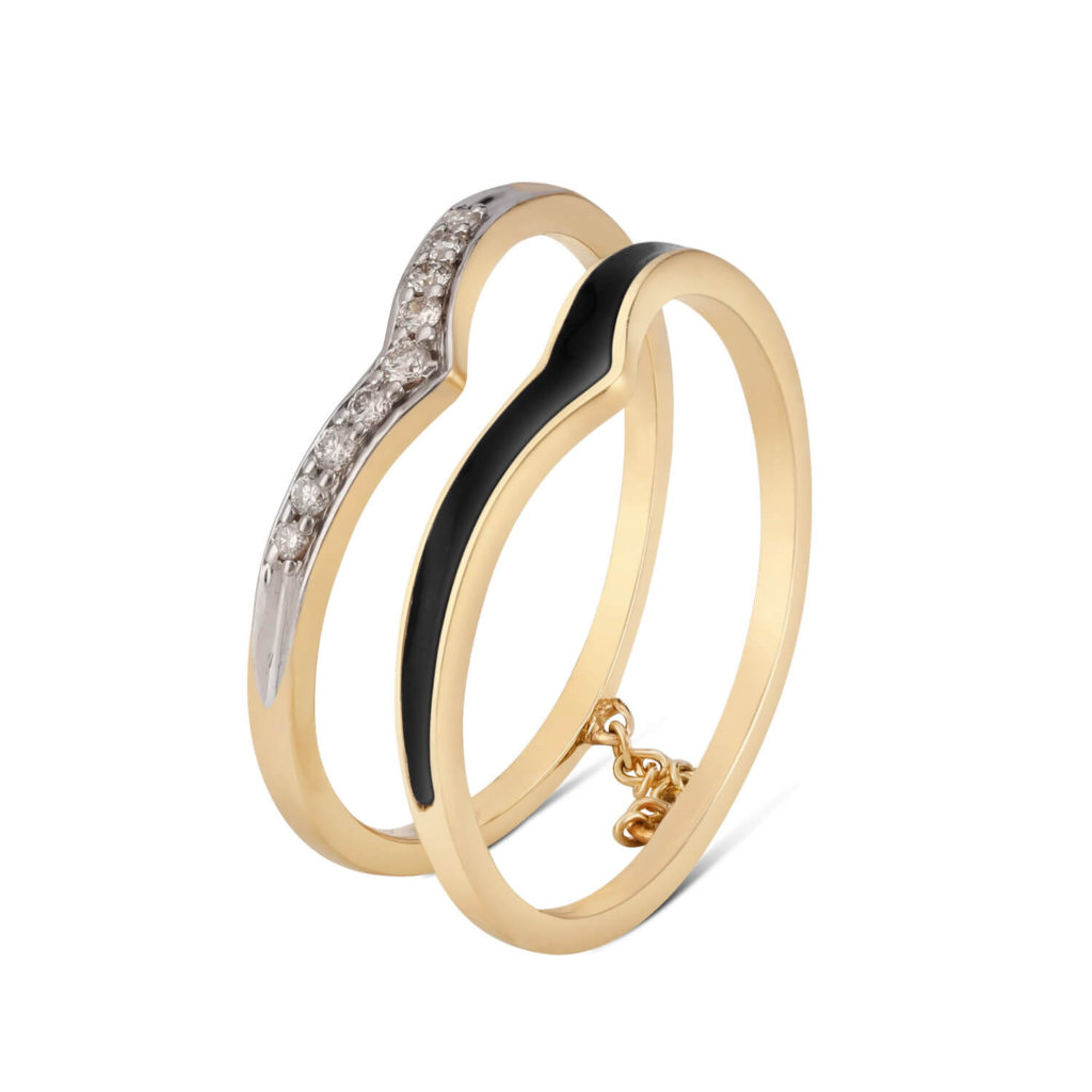 Tanishq Yellow Gold Diamond Duet Finger Ring