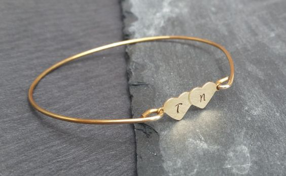 personalized-double-heart-initial-bracelet