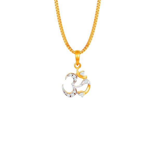 tanishq ohm diamond pendant