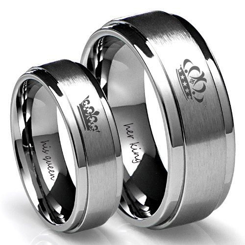 Here Is A Promise Couple Rings Design Which Is Engraved With The King U0026  Queen Crowns On The Outside And The Names Of The Couple Inside.
