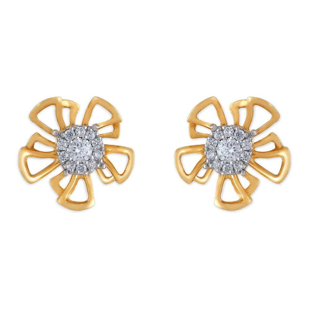 Diamond Set Double V Earrings
