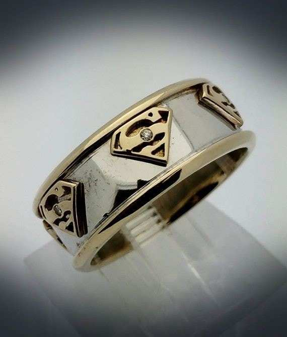 Superman Wedding Band: 20+ Movie Inspired Wedding Rings Awesome Geeky Couples