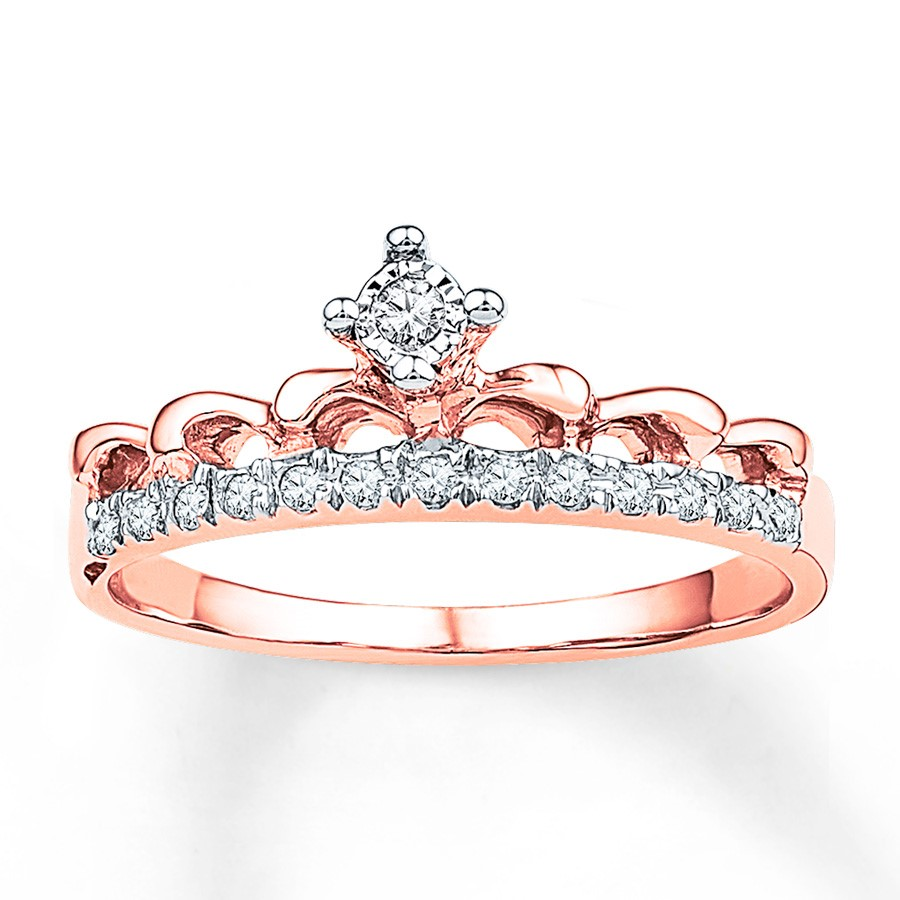 Diamond Band Promise Ring Rose Gold